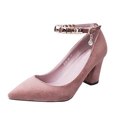 Dear Time Women Block Heel Ankle Strap Pointed Toe Pumps Pink US (Ankle Strap Pointed Toe Pumps)