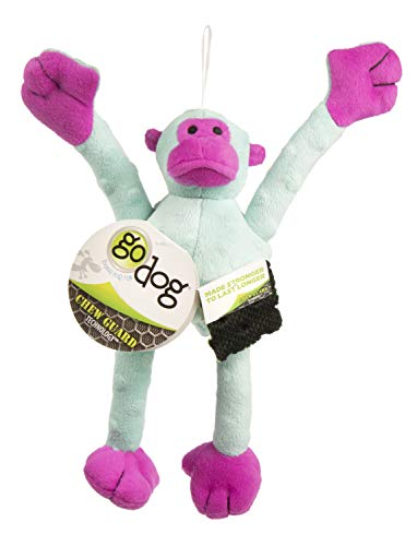 goDog Crazy Tugs Monkeys with Chew Guard Technology Plush Sq