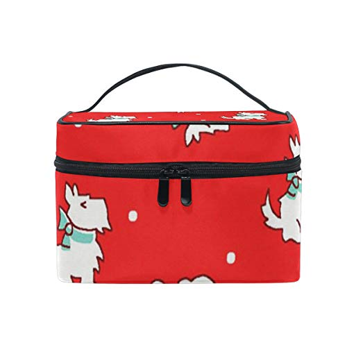 Toiletry Bag Multifunction Cosmetic Bag Portable Toiletry Case Waterproof Travel Organizer Bag for Women Girls Christmas Scottie Dogs Red