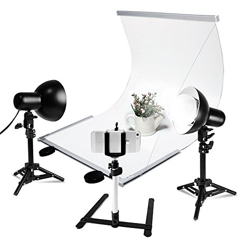 LS Photography Infinity Board Table Top Studio Shooting Kit with Mini Bowl Lamp Light Stand, 18W LED Bulb, Tripod Stand, and Cell Phone Holder Adapter Clip, LGG763
