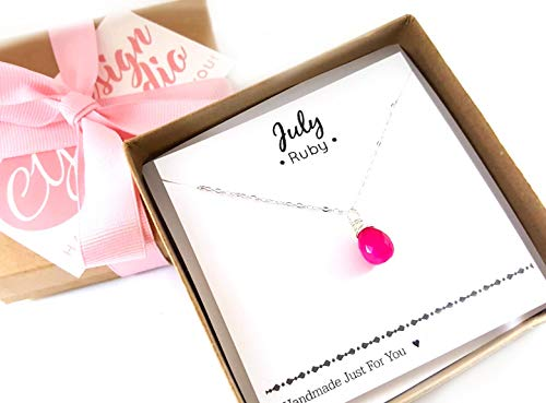 - July Birthstone Hot Pink Chalcedony Necklace - Sterling Silver Briolette Teardrop Jewelry - Gift for Her