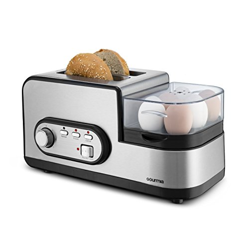 Gourmia GBF470 4 in 1 Breakfast Station - 2 Slice Toaster, Egg Cooker and Poacher, Vegetable Steamer, Bacon and Meat Steaming Tray - One Touch Controls - Stainless Steel