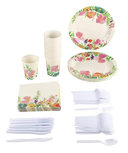 Disposable Dinnerware Set - Serves 24 - Vintage Floral Party Supplies for Birthdays, Weddings, Bridal Shower, Watercolor Flowers, Includes Plastic Knives, Spoons, Forks, Paper Plates, Napkins, Cups