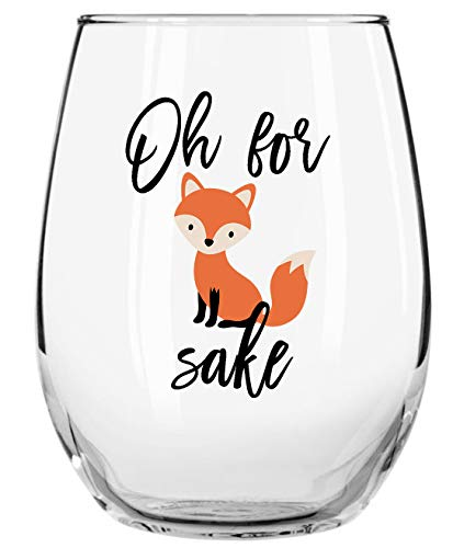 Oh For Fox Sakes Funny Wine Glass Momstir 15oz Gift for Men or Women - Unique Present for Friends and Co-workers - Perfect as Birthday/Christmas Gift (Glass Fox)