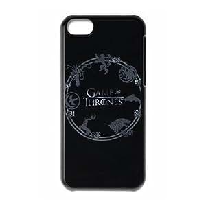 Juego de Tronos Logo Funda caja del teléfono celular Funda iPhone 5C Negro N9D3YKNX cajas del teléfono celular Claro personalizada