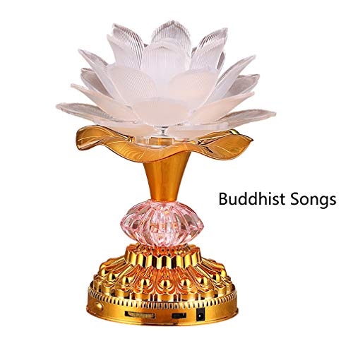 Omeet 7 Colorful LED Lotus Buddhist Lamp, Built 13 Buddhist Songs, Buddha Lotus Light, Buddhist Supplies - ()