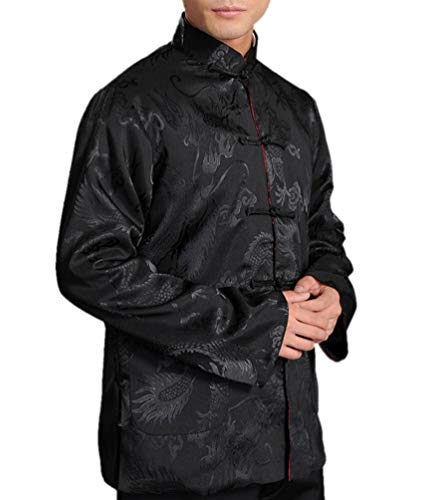 Chinese Tai Chi Kungfu Reversible Black/Red Jacket Blazer 100% Silk Brocade #107 + Free Magazine