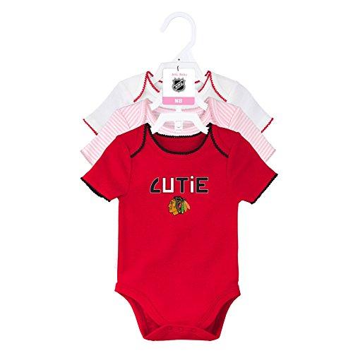 Outerstuff NHL Chicago Blackhawks Children Unisex 3Rd Period 3Piece Onesie Set, 0-3 Months, Light Pink