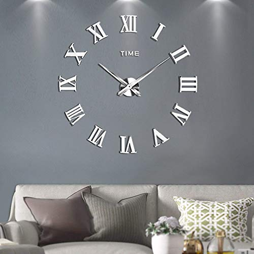 (SIEMOO Large DIY Wall Clock Kit, 3D Frameless Wall Clock with Mirror Number Stickers for Home Living Room Bedroom Office Decoration-Silver)