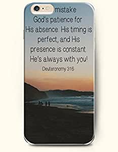 OOFIT Hard Phone Case for Apple iPhone 6 Plus ( iPhone 6 + )( 5.5 inches) - Don'T Mistake God'S Patience For His Absence. His Timing Is Perfect. And His Presence Is Constant. He'S Always With You Deuteronomy 31:6 - Bible Quotes