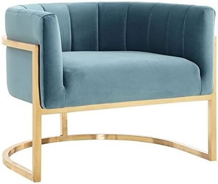 TOV Furniture The Magnolia Collection Modern Style Velvet Upholstered Living Room Accent Chair with Gold Base, Sea Blue