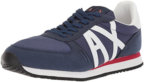 A|X Armani Exchange Men's Retro Running Sneaker, Navy Peony, 10 Medium US