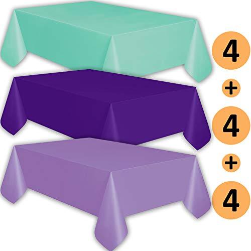 - 12 Plastic Tablecloths - Aqua, Purple, Lavender - Premium Thickness Disposable Table Cover, 108 x 54 Inch, 4 Each Color