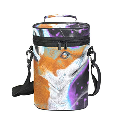 Wine Bag Fox Purple Space 2 Red Wine Travel Bag Insulated Wine Tote Carrier Cooler Bags with Handle and Adjustable Shoulder Strap