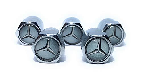 Mercedes Benz Metal Tire Valve Stem Caps Set / 5 Pcs for C-Class Sedan Coupe E-Class S-Class S-Class Maybach E-Class Wagon CLA Coupe CLS Coupe GLA GLC SUV Coupe GLE SUV Coupe GLS SUV G-Class