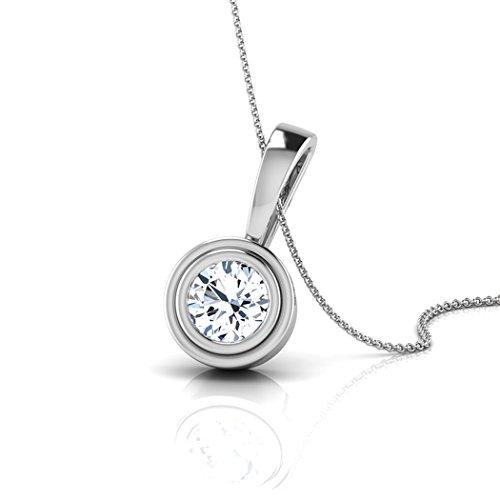 14K Or blanc 0,3CT TW Round-cut-diamond (IJ | SI) Pendentif