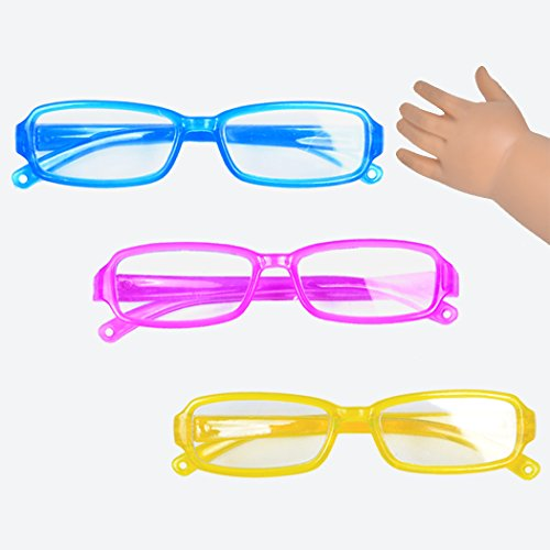 Ebuddy 3pc Include Pink Yellow Blue Color Doll Eye Glasses For 18 inch American Girl
