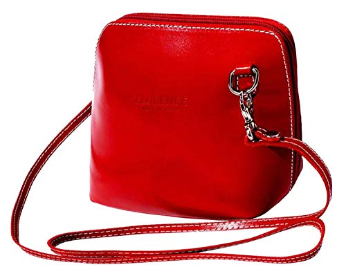 JAENIS NICHOLE-Crossbody Bags for Women, Polished Dome Shoulder Bags, Small Purse in Italian Leather Dalida(Small,Red)