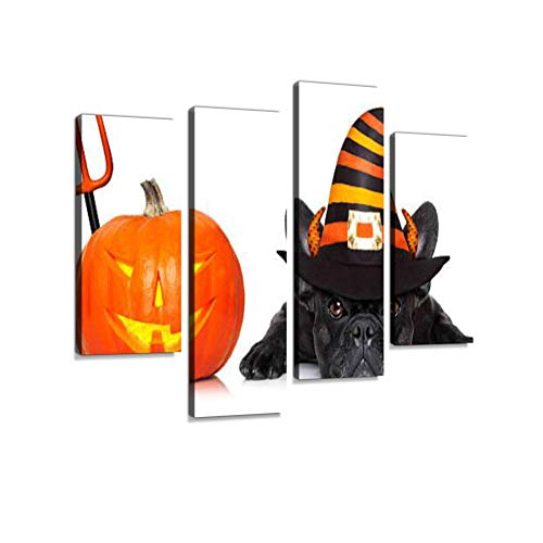 Halloween Dog Banner Canvas Wall Art Hanging Paintings Modern Artwork Abstract Picture Prints Home Decoration Gift Unique Designed Framed 4 Panel ()