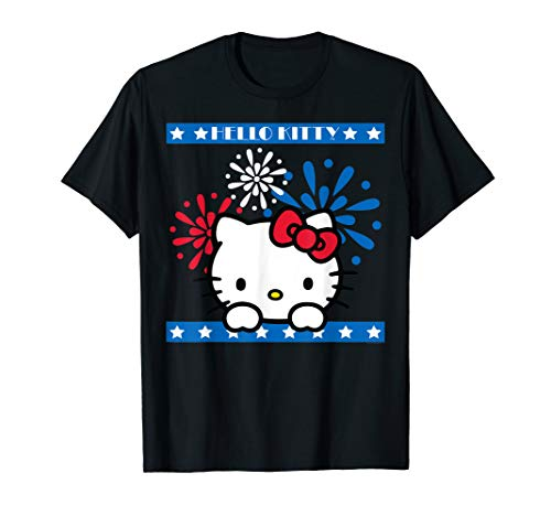 (Hello Kitty Fireworks 4th of July Red White Blue Americana T-Shirt)