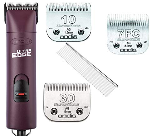 Andis ProClip AGC Super 2-Speed Detachable Blade Clipper Professional Animal Grooming AGC2 with 3-Blades #10+#30+#7FC and Steel Comb …