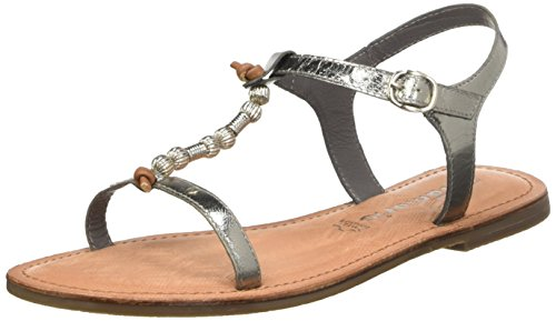 Tamaris 28166, Women's T-Bar Sandals Silver - Silber (Pewter 915)