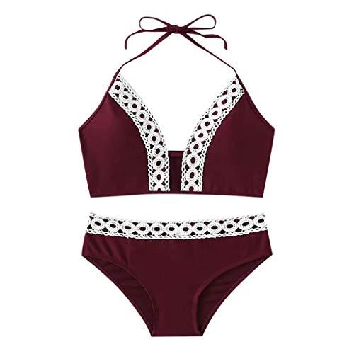 LUCA Women Sexy Lace Costume Padded Swimsuit Monokini Swimwear Bikini(Wine Red,S)
