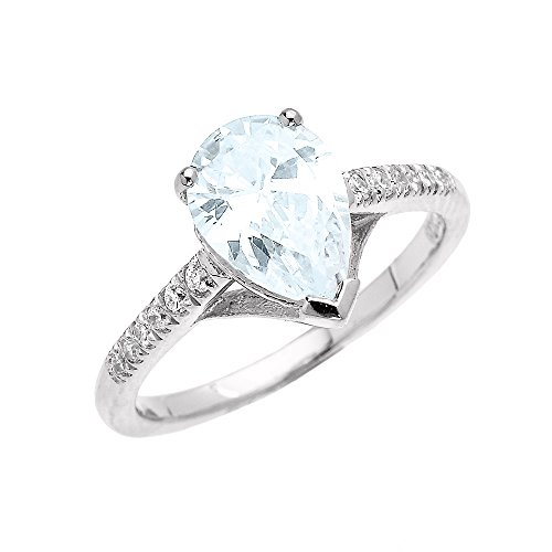 Dainty 14k White Gold Pear Shape Aquamarine and Diamond Solitaire Engagement Proposal Ring (Size 10)