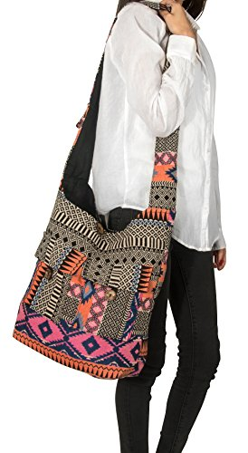 Crossbody Handwoven Thick Cotton Shoulder Bag Shopping Market Purse Pink Casual Boho Roomy Spacious