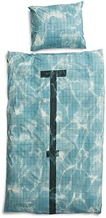 pour lit Simple Snurk Dreaming Housse de Couette Percale avec Piscine Motif Blanc Impression platzierter