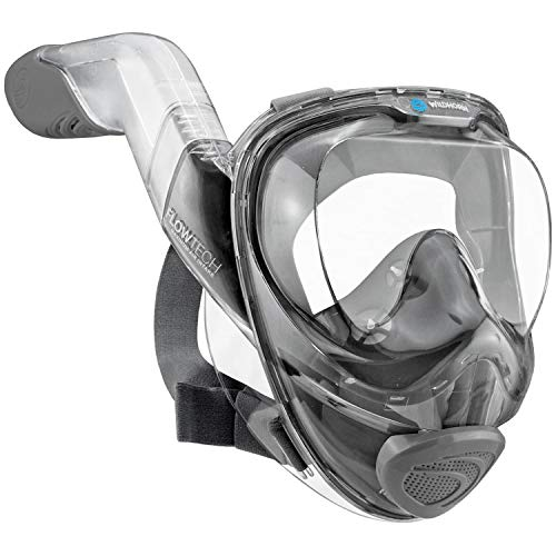 (WildHorn Outfitters Seaview 180° V2 Full Face Snorkel Mask with FLOWTECH Advanced Breathing System - Allows for A Natural & Safe Snorkeling Experience- Panoramic Side Snorkel Set Design)