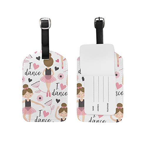 MAPOLO Ballerinas Ballet Girl PU Leather Luggage Bag Tags Suitcase Labels,1 Pcs