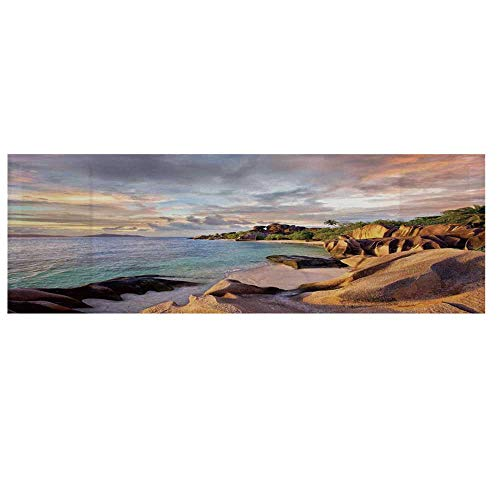 """Seaside Decor Dustproof Electric Oven Cover,Tropical Rock Sandy Beach at Sunset in Island with Majestic Sky Light Art on Earth Photo Cover for Kitchen,36""""L x 12""""W from TecBillion"""