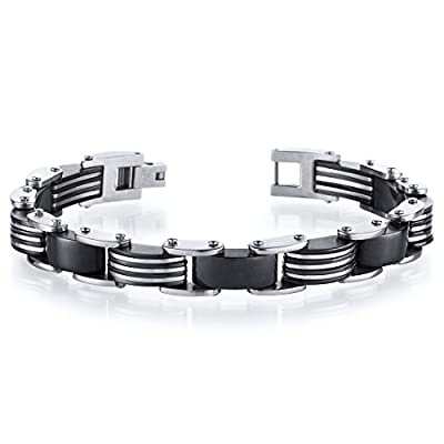 Stylish Mens Black Interwoven link Stainless Steel Bracelet