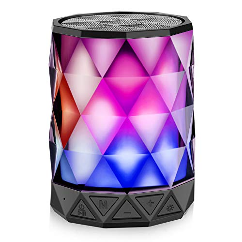 Bluetooth Speakers with Lights, LFS Night Portable Wireless Speakers, Multi-Color Auto-Changing LED Themes, Diamond Shape, Built-in Mic & TF Card, TWS Supported for iPhone, Samsung