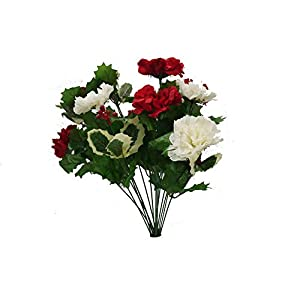 Admired By Nature AC006-RD/CM_1 14 Stems Faux Blooming Carnation Berry Flower Bush
