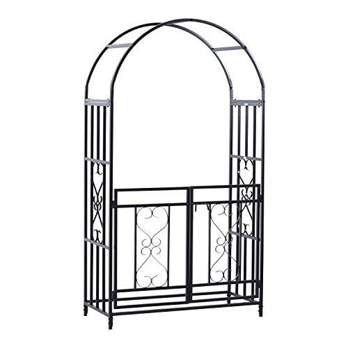7' Metal Garden Arch with Gate