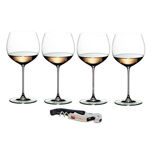 Riedel Veritas Leaded Crystal 4 Piece Chardonnay Wine Glass Set with Bonus BigKitchen Waiter's Corkscrew