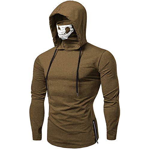Realdo Mens Hoodie, Mens Skull Mask Pullover Casual Solid Zip Long Sleeve Hooded Sweatshirt Tops ()
