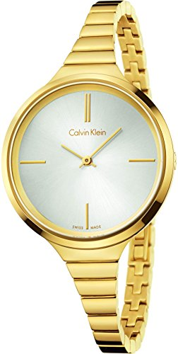 Calvin Klein Women's Swiss Lively Gold PVD Stainless Steel Bracelet Watch 34mm K4U23526