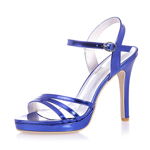 Clearbridal Women's Patent leather Open Toe Bridal Sandal for Wedding Prom Shoes ZXF5915-27 Royalblue