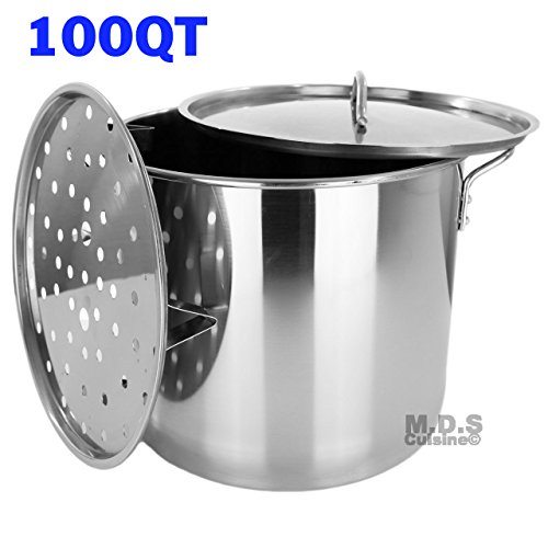 Stock Pot Stainless Steel 100 QT Steamer Brew Vaporera Tamalera for Tamales (25gallons) by M.D.S Cuisine Cookwares