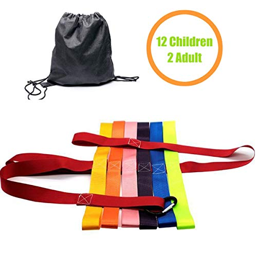 Twos Teacher Pack - Kids Walking Rope for Preschool, DOCA Safety Walking Rope Toddler Class Walking Rope with Colorful Handles Perfect for Children Daycare Family Schools Teachers -12 Children and 2 Teachers【Red】