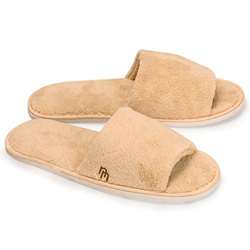 Nicely Neat Woodland Open Toe Coral Fleece House and Travel Slipper - Large