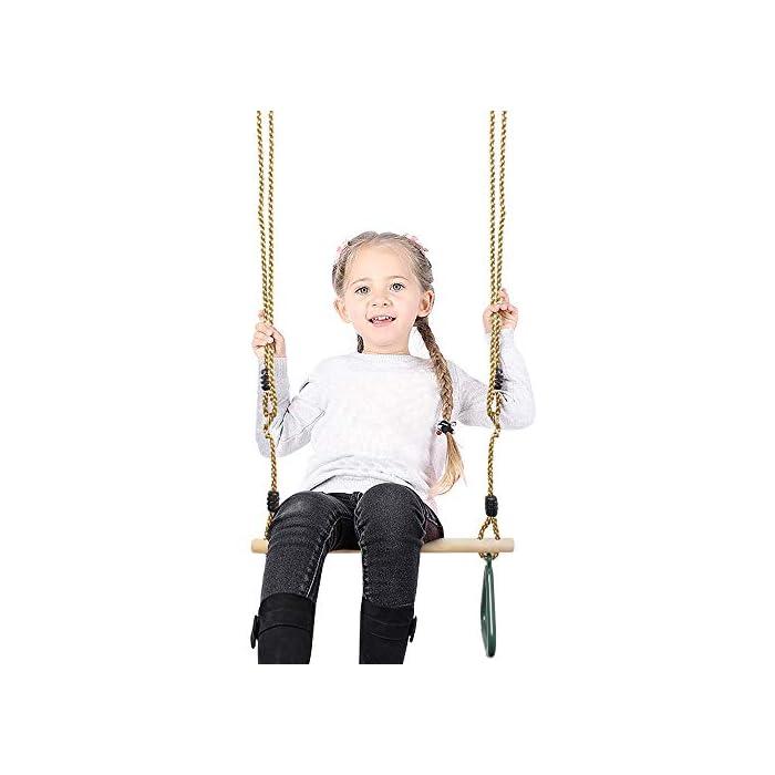 416zVRO%2BTZL Se puede instalar de forma segura en un marco giratorio * Todos los componentes están fabricados con materiales resistentes y de gran calidad para garantizar la seguridad de los niños. Desarrolla la fuerza del brazo superior y el equilibrio del cuerpo de los niños. * Cuerda ajustable entre 1,2 a 2 m de longitud. * Instalado fácilmente Los niños hacen ejercicio con diversión. * Adecuado para instalar en varios lugares, como un jardín, un parque infantil, una sala de estar, etc. * Los anillos de PP tranpeze son resistentes y duraderos con buen agarre