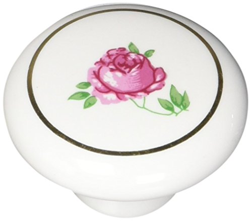 (Laurey 2042 1 1/2-Inch Porcelain Knob, White with Flowers)