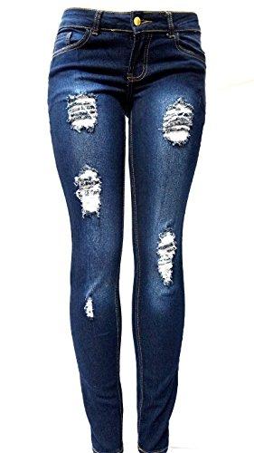 JK41 Juniors Women's plus size BLUE Denim JEANS Skinny Ripped Distressed Pants