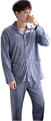 オールシーズンに最適 メンズパジャマロングスリーブトップパケットとソフトパジャマパンツコットンPjのセット部屋着-SY7161