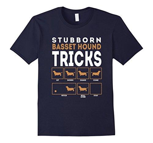 Men's Stubborn Basset Hound Dog Training Tricks Graphic T-Shirt 3XL Navy