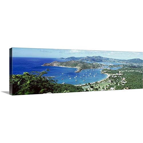 Canvas on Demand Premium Thick-Wrap Canvas Wall Art Print Entitled High Angle View Yachts in a Harbor, English Harbor, Antigua, Caribbean Islands 60